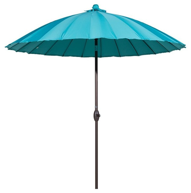 Superieur 8.5u0027 Round Parasol Patio Umbrella, Tilt And Crank, 24 Steel Ribs, Turquoise