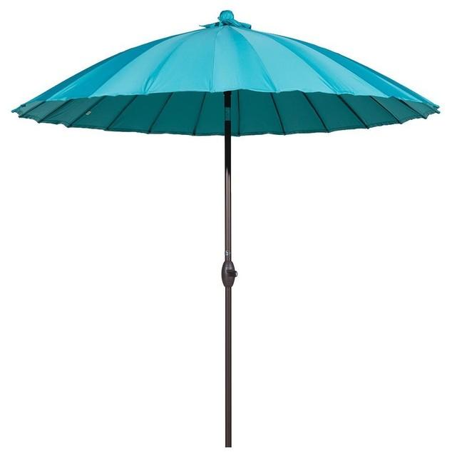8.5' Round Parasol Patio Umbrella, Tilt and Crank, 24 Steel Ribs