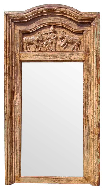 Consigned Rajasthan Carved Mirror - Mediterranean - Wall Mirrors ...