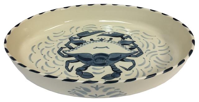 Blue Crab Large Oval Casserole Dish, Set Of 2.
