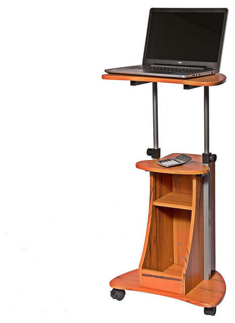 Mobile Sit Down Stand Up Desk Adjustable Height Laptop Cart, Wood Grain  Finish Contemporary