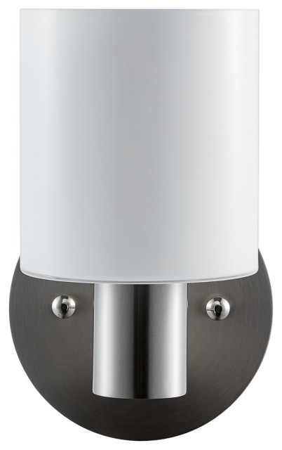 Plumas Single sconce, Brushed Nickel with Glossy Frosted Glass
