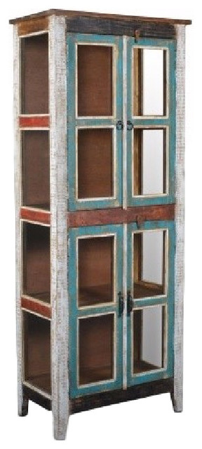 Rustic Distressed Reclaimed Wood Curio Glass Cabinet Beach Style China  Cabinets And