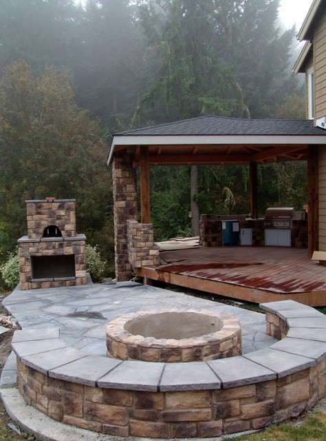 Outdoor Fireplace With Pizza Oven And Fire Pit Traditional Portland By Brown Bros Masonry
