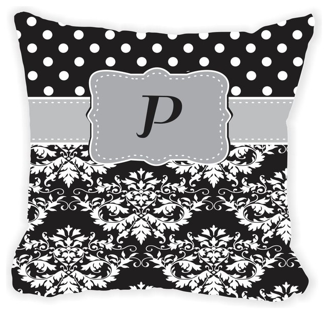 Black Microfiber Throw Pillows : Rikki Knight LLC - Initial