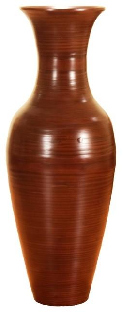 """Classic Brown Bamboo Floor Vase, 36"""""""
