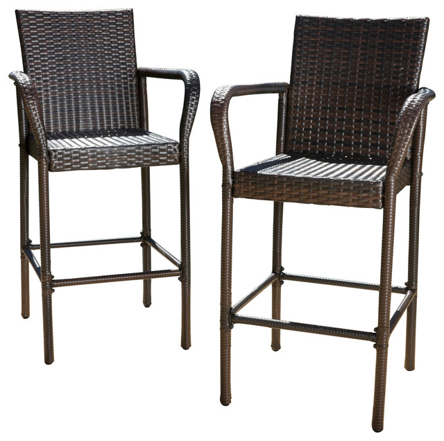 Outdoor Wicker Bar Stools Set Of 2 Brown Tropical