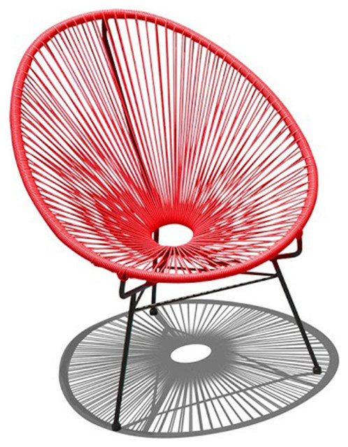 Acapulco Outdoor Chair, Candy Apple Red And Black Contemporary Outdoor  Lounge Chairs