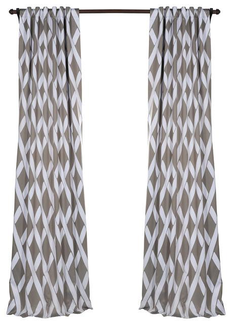 "Crosshatch Gray Blackout Curtain, Pair, 50""x84""."