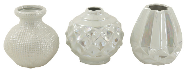 "Small, Round, Textural and Glossy Opalescent White Pots, Set of 3: 6""x6"" Each"