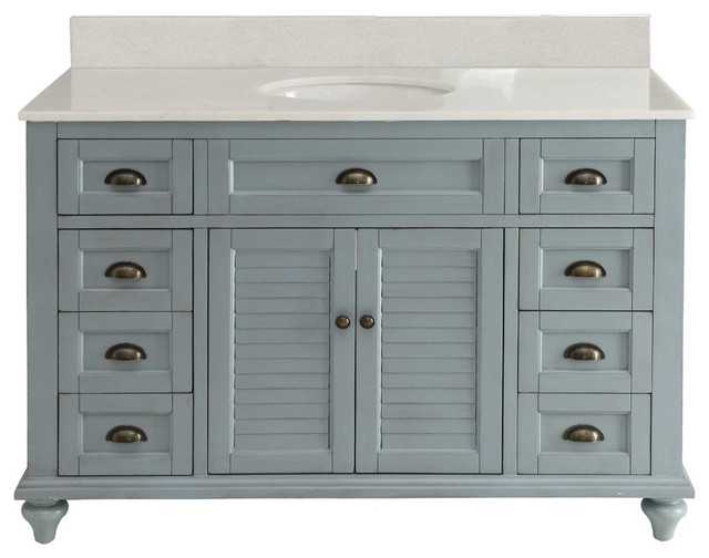 Glennville 49 Cottage Bathroom Vanity Cabinet Set In Light Blue Farmhouse Bathroom Vanities And Sink Consoles By Chans Furniture Showroom Houzz