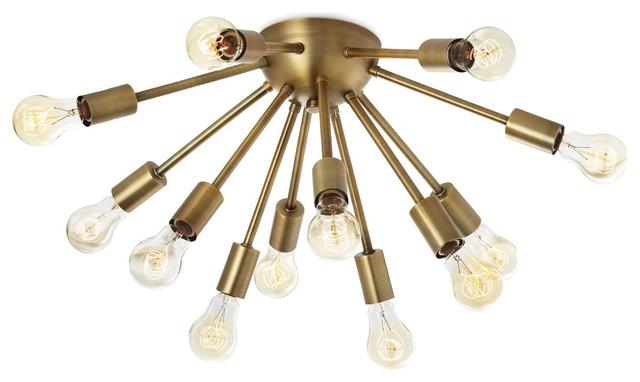 12-Socket Brass Sputnik Flush Mount Ceiling Light.