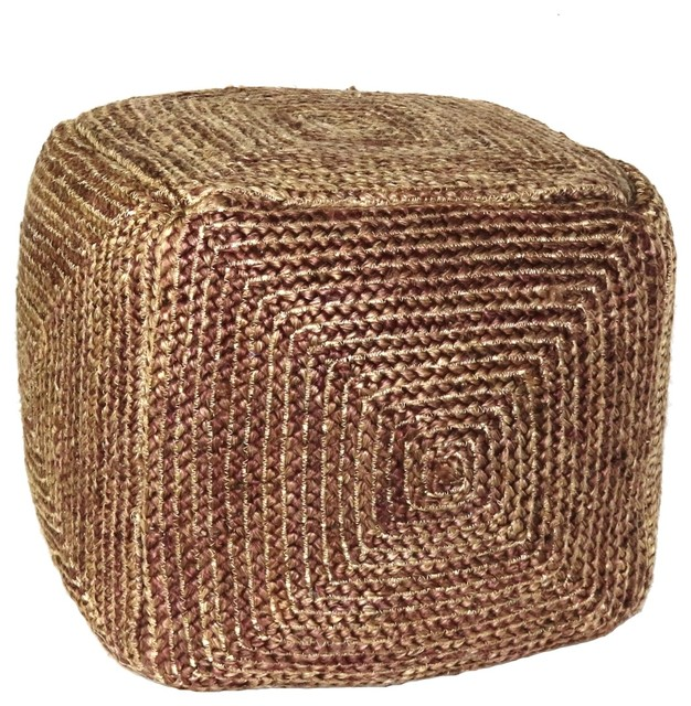 Natural Hemp Woven Red Rope Cube Pouf Ottoman Stool Square Seat Cottage Boho