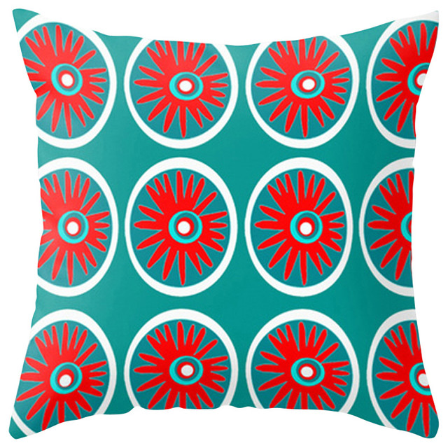 Modern Outdoor Pillow, Red And Turquoise
