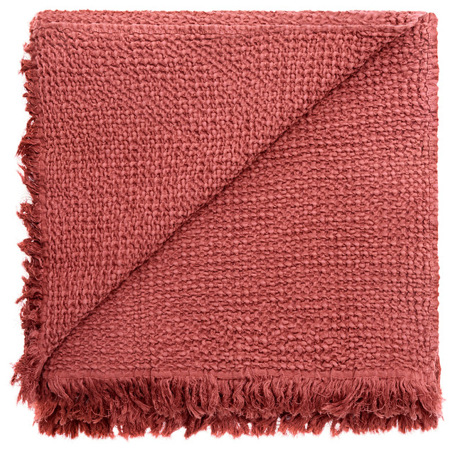 Russell Stonewashed Waffle Cotton Throw, Rust.