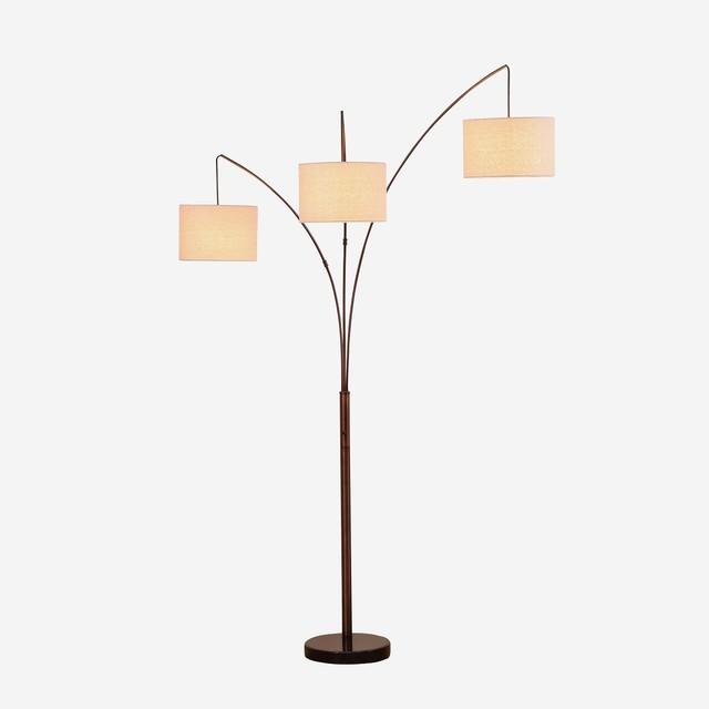 Brightech Trilage Modern LED Arc Floor Lamp, Bronze