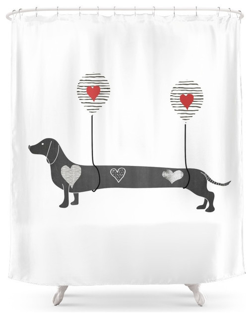 Society6 Dachshund Shower Curtain Contemporary Shower Curtains