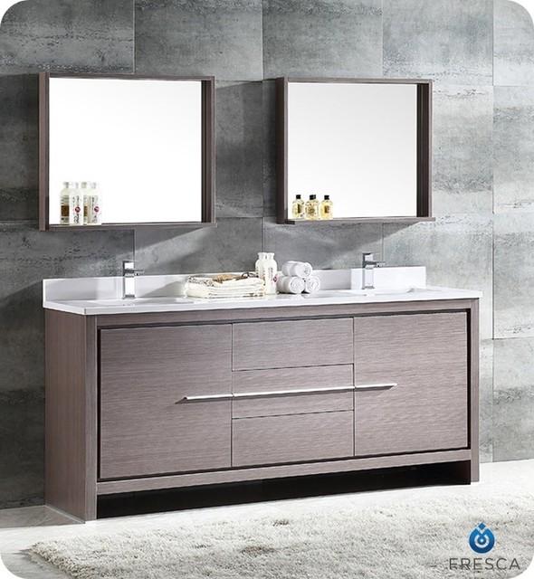Superb Fresca Allier 72 2 Sink Vanity Gray Oak Interior Design Ideas Truasarkarijobsexamcom