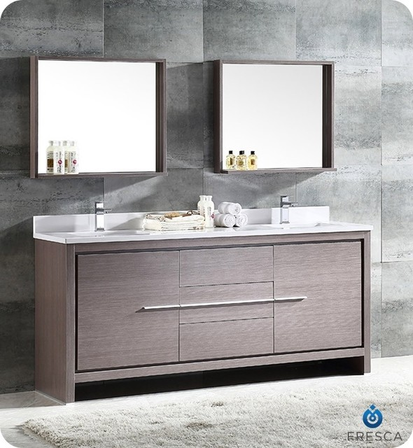 Fresca Allier 72 2 Sink Vanity Gray Oak Modern Bathroom