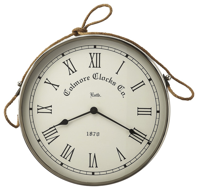 Butler butler rockport nickel finish wall clock reviews houzz - Large brushed nickel wall clock ...