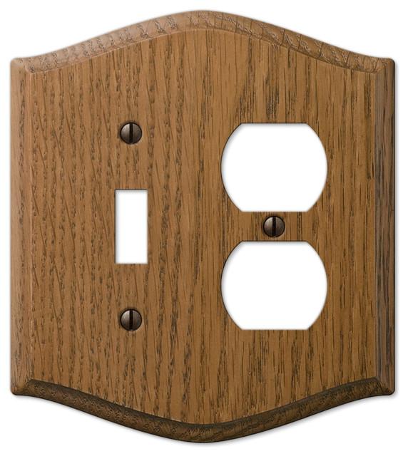 Country medium finish oak wood toggle duplex wall