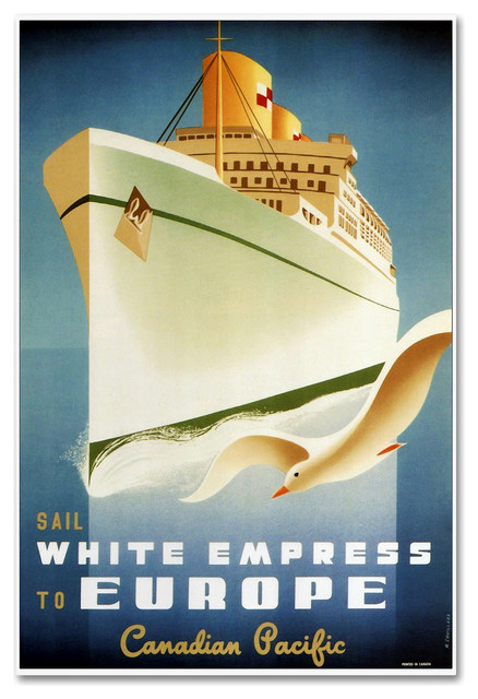 """16x24 1950s /""""Empress to Europe/"""" Vintage Style Canadian Travel Poster"""