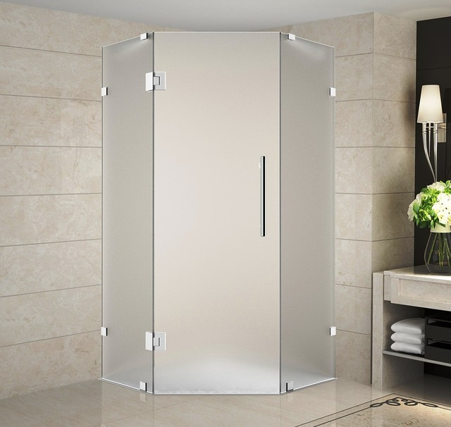 Neoscape 34x34x72 Frameless Neo Angle Shower Enclosure Frosted