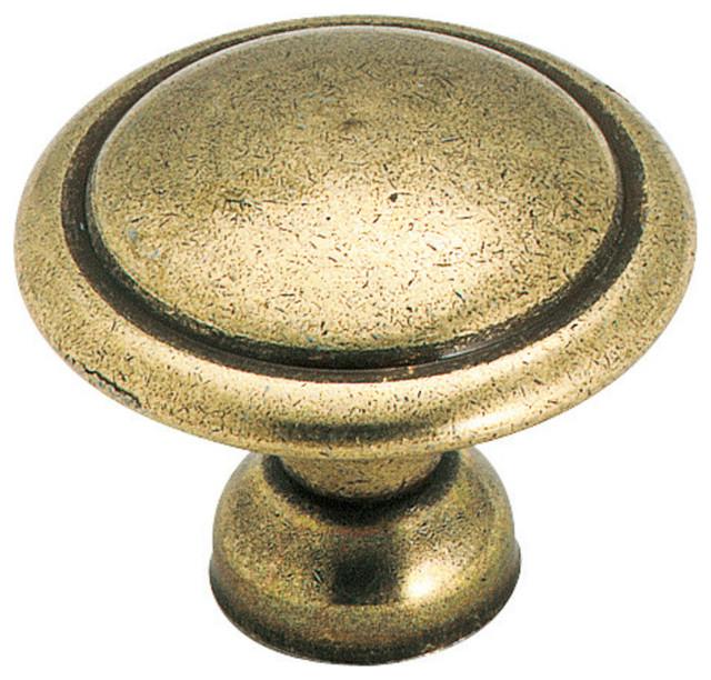 "Amerock, Allison Value Hardware 1-3/8"", 35mm, Knob, Light Antique Brass"