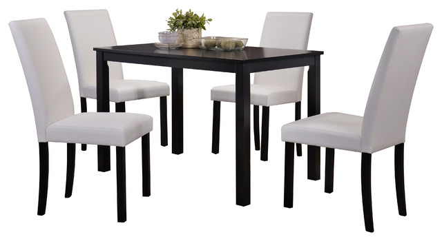 August 5 Piece Dining Set, White Transitional Dining Sets