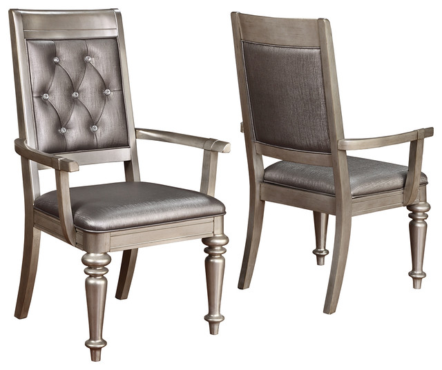 Metallic Platinum Leatherette Upholstered Arm Chairs Rhinestone Tufted Back Set Contemporary