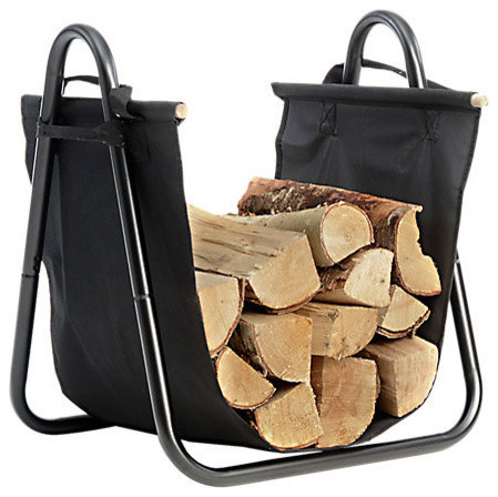 Hearth Accessories Log Holder With Canvas Carrier.