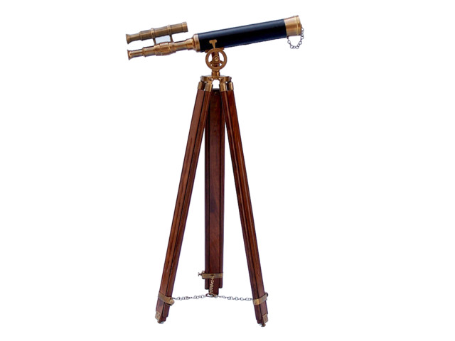 Brass Nautical Telescope on Wooden Tripod Table /& Home Deco Antique Telescope