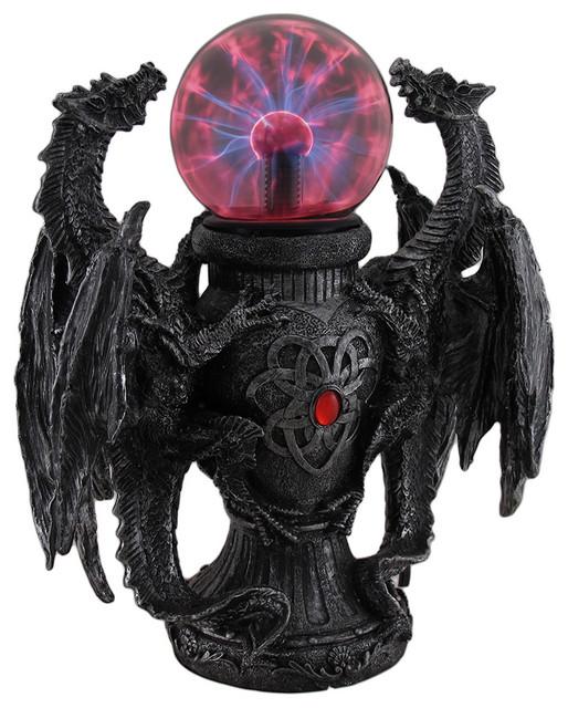 Twin Guardian Dragons Statue Saurian Plasma Gazing Ball ...
