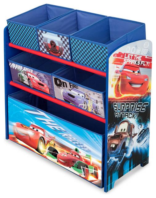 Car Toy Organizer : Children blue disney cars multi fabric bin toy book