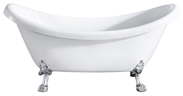 Mona Oval Double Slipper Clawfoot Bathtub White Acrylic 71
