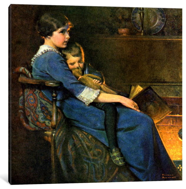 Bedtime By Norman Rockwell Canvas Print 18x18