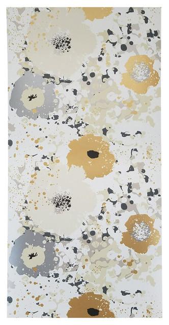 Spontaneity Metallic Gold Silver Floral Wallpaper, Single Roll.