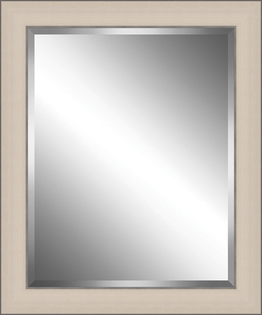Off White Brushed Wood Framed Beveled Plate Glass Mirror 2 5 Frame Transitional Bathroom Mirrors By Watermark By Somerset House