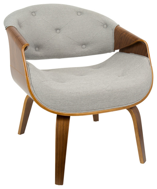 Curvo Mid-Century Modern Accent Chair, Walnut And Gray Fabric.
