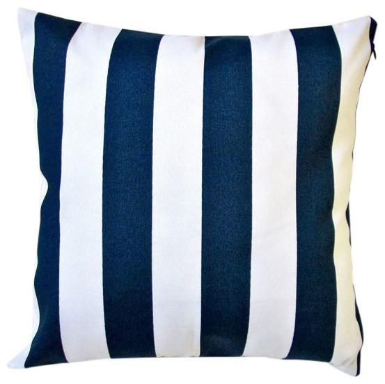 Outdoor Navy Polyester Stripe Throw Pillows Set Of 2 Contemporary