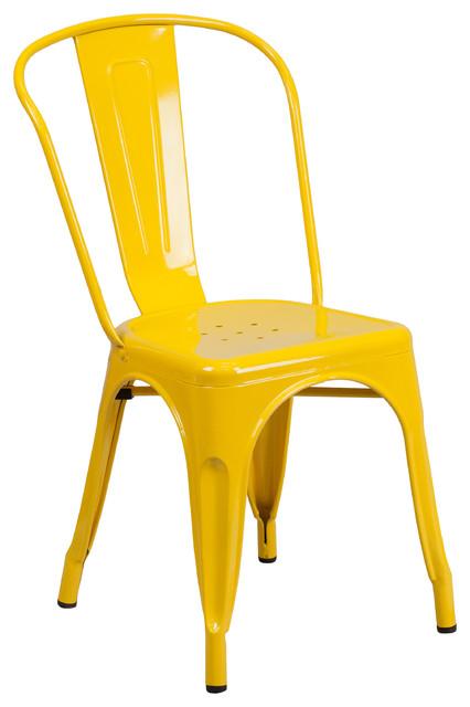 Yellow Metal Indoor-Outdoor Stackable Chair.