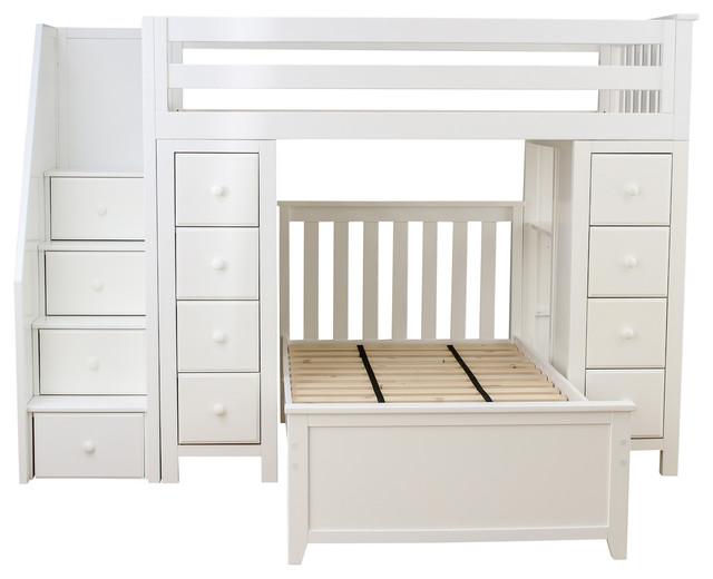 Merveilleux Chelsea Twin Over Twin Stairway Storage Loft Bed, White