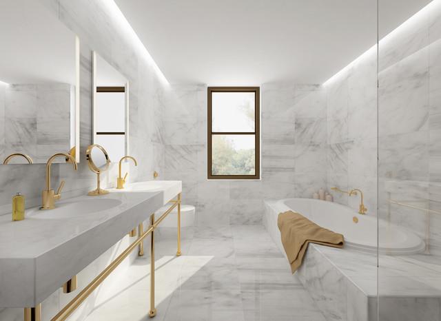 Carrara Marble Tile White Bathroom, Carrara Marble Tiles Bathroom
