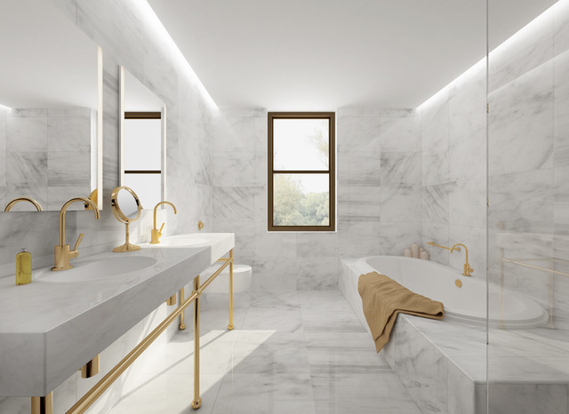 Carrara Marble Tile White Bathroom Design Ideas Modern New York