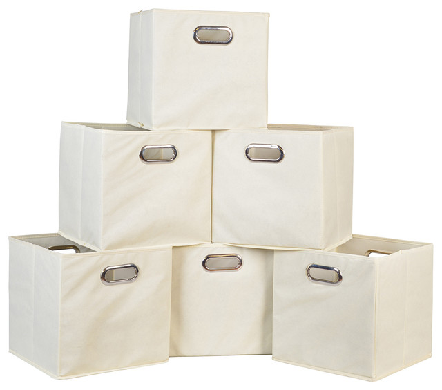 Niche Cubo Set Of 6 Foldable Fabric Storage Bins, Beige.