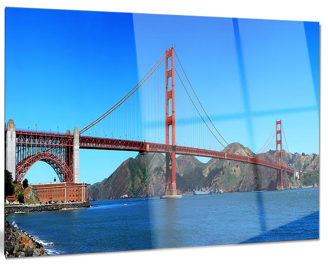 Golden Gate Bridge Under Blue Sky Glossy Metal Wall Art 40 X30