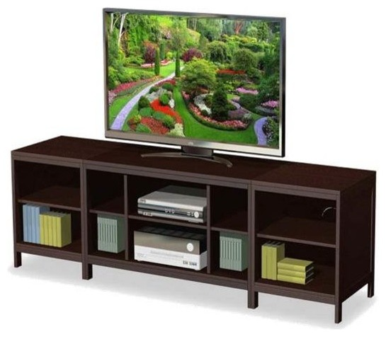 3 Pc TV Console Set in Espresso w End Pieces - Transitional - Entertainment Centers And Tv ...