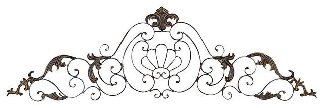 Iron Scroll Wall Art crown iron scroll wall decor sculpture - traditional - metal wall