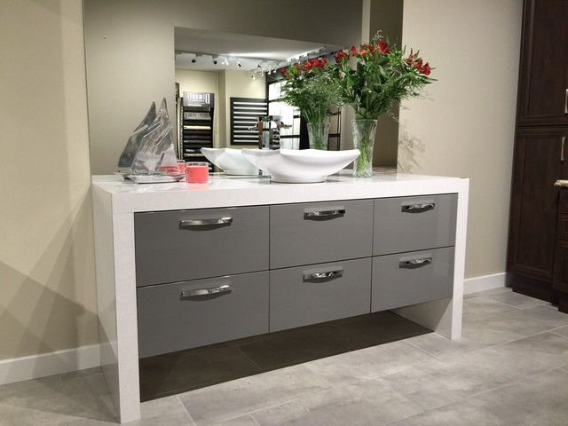 Euro Style Grey Hi Gloss Vanity With Waterfall Top Contemporary Bathroom