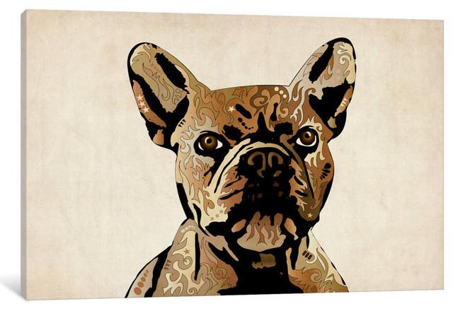 """french Bulldog"" Wrapped Canvas Art Print, 40x26x1.5."